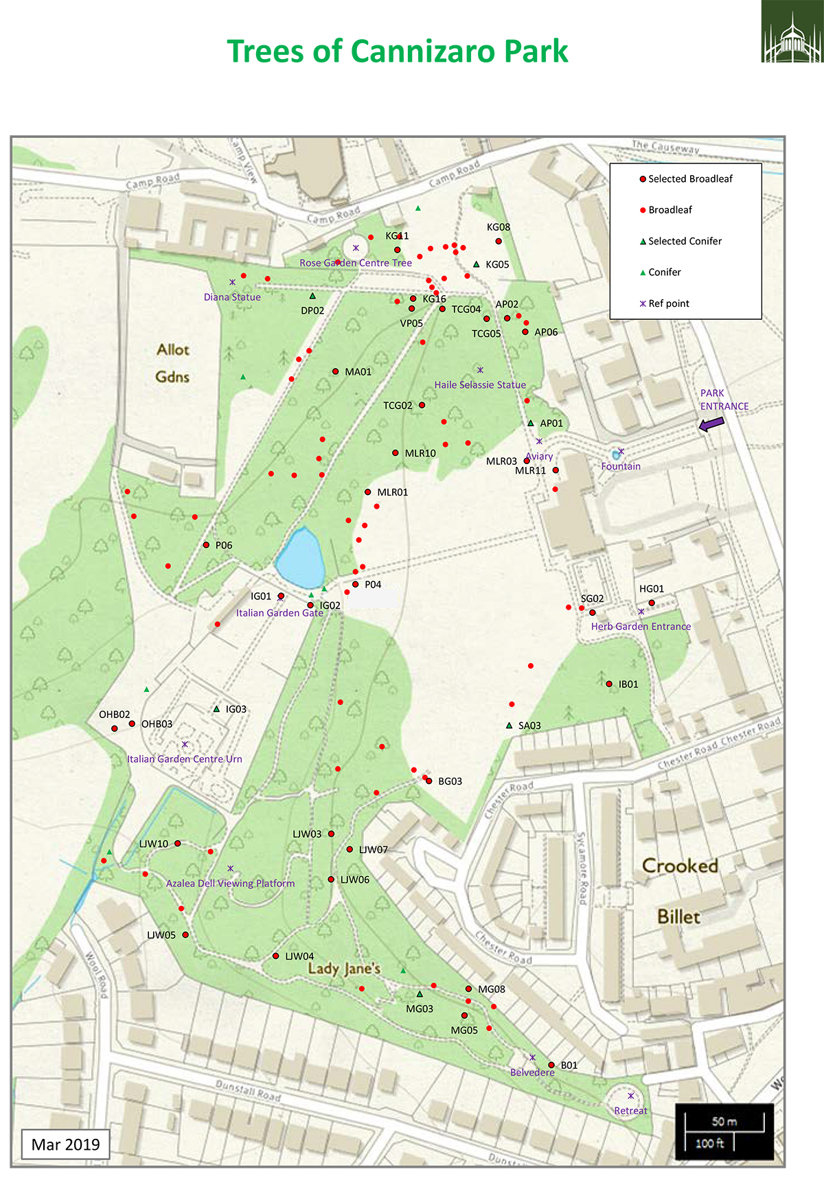 Map of Trees in Cannizaro Park